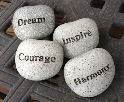 stones with words of inspiration