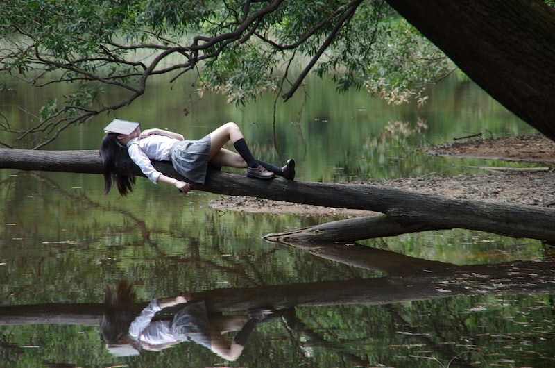 girl lying on tree branch with book covering her face