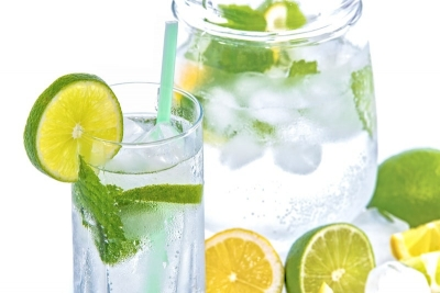 lemon and lime water with mint